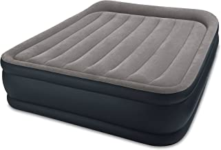Intex Dura-Beam Standard Series Deluxe Pillow Rest Raised Airbed w/ Soft Flocked Top for Comfort, Built-in Pillow & Electric Pump, Bed Height 16.5