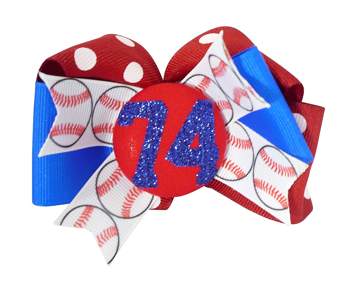 Baseball Glitter Hair Bow Clip for Blue Electric Red R Max 68% OFF and Girl- Max 79% OFF