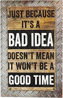 Young's Wood Man Cave Bad Idea Wall Sign, 15.75