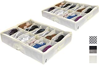 COMPONO 2 Pack Shoe Organizer for Under Bed Shoe Storage or Shoe Organizer for Closet. Great Shoe Holder for underbed Shoe Storage (Cream, Shoe Organizer)