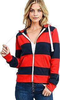 esstive Women's Ultra Soft Fleece Color Block Full-Zip Hoodie Jacket
