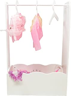 MMP Living Dress up Center with Full Length Mirror, knob and 3 Hangers - White, 3 feet Tall