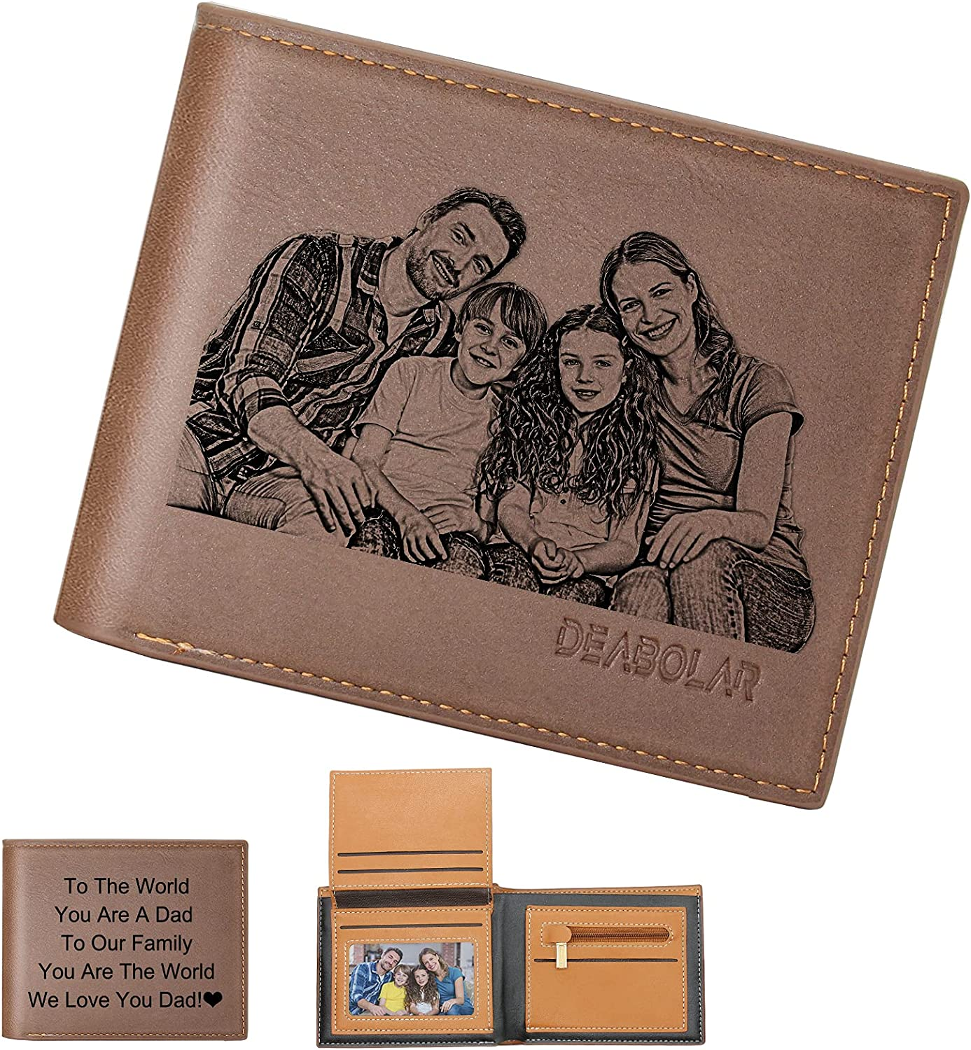Personalized Wallet for Men with Picture Engraved, Custom Trifold Photo Wallets for Dad Husband Son Father's Day