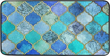 Blue Gold Moroccan Kitchen Rugs Mermaid Scales Geometric Boho Mosaic Bath Rug Runner Comfort Mat Non-Slip Doormats Carpet ...
