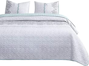 Wake In Cloud - Gray Quilt Set, Reversible with Grey Teal Turquoise, Soft Microfiber Bedspread Coverlet Bedding (3pcs, King Size)