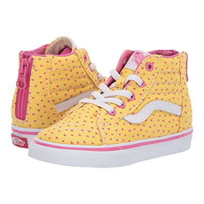 Vans Kids Sk8-Hi Zip (Toddler) ((Hand Drawn Hearts) Aspen Gold/True White) Girls Shoes