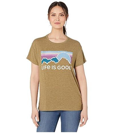 Life is Good Sunset Hills Favorite Slouchy Tee (Fatigue Green) Women