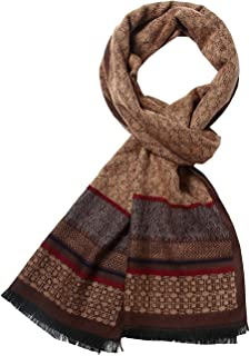 SSLR Men's Winter Thermal Print Soft Cashmere Feel Plaid Scarf