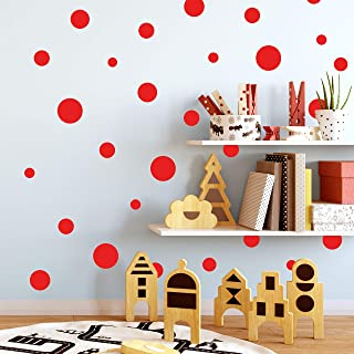 Create-A-Mural Polka Dot Wall Stickers, Wall Decor Stickers, Wall Dots, Vinyl Circle Room Dot Decals (Red)