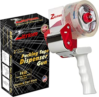 ZITRIOM Packing Tape Dispenser Gun-Plus 1 Free Packing Roll 2 Inch Included-Standard Size Heavy Duty Industrial Packaging Lightweight Handheld for Packaging, Moving & Sealing