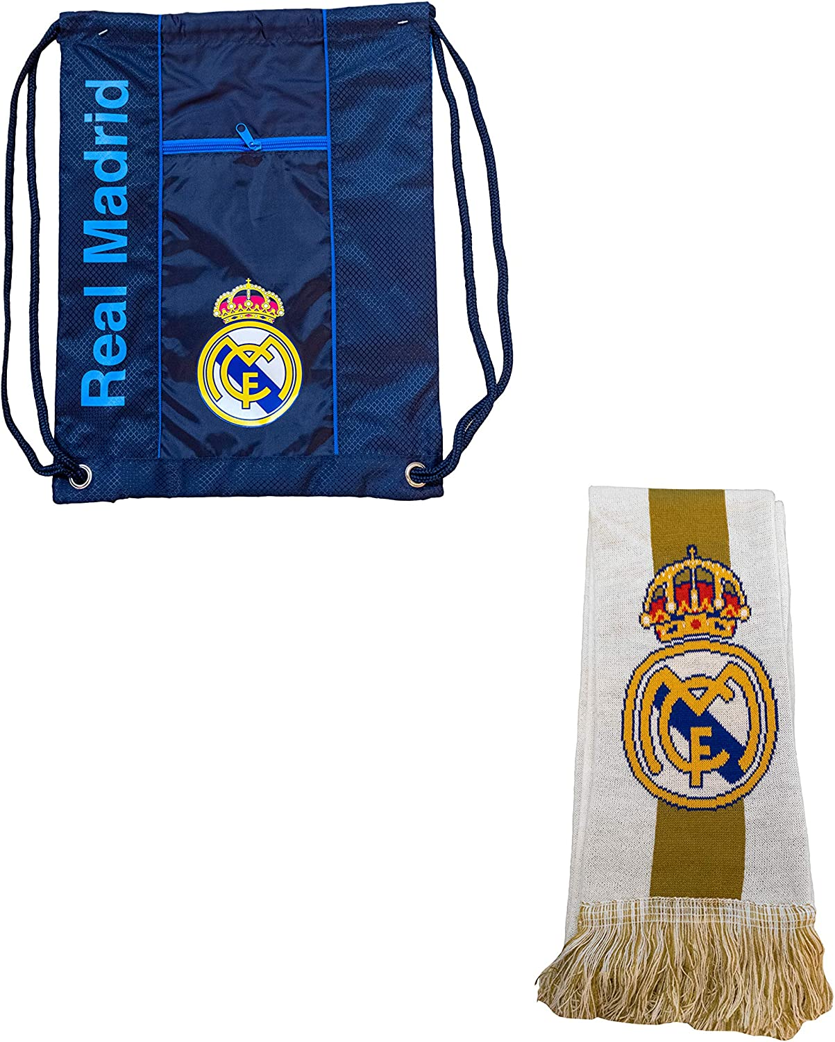 Real Madrid Package Scarf-Cinch Bag Officially Licensed Icon Sports