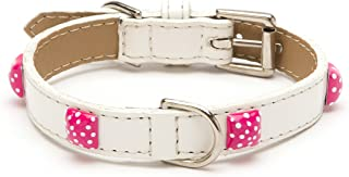 LV Pyramid Dot Straight Dog Collar, White Patent with Pink Enamel Pyramids