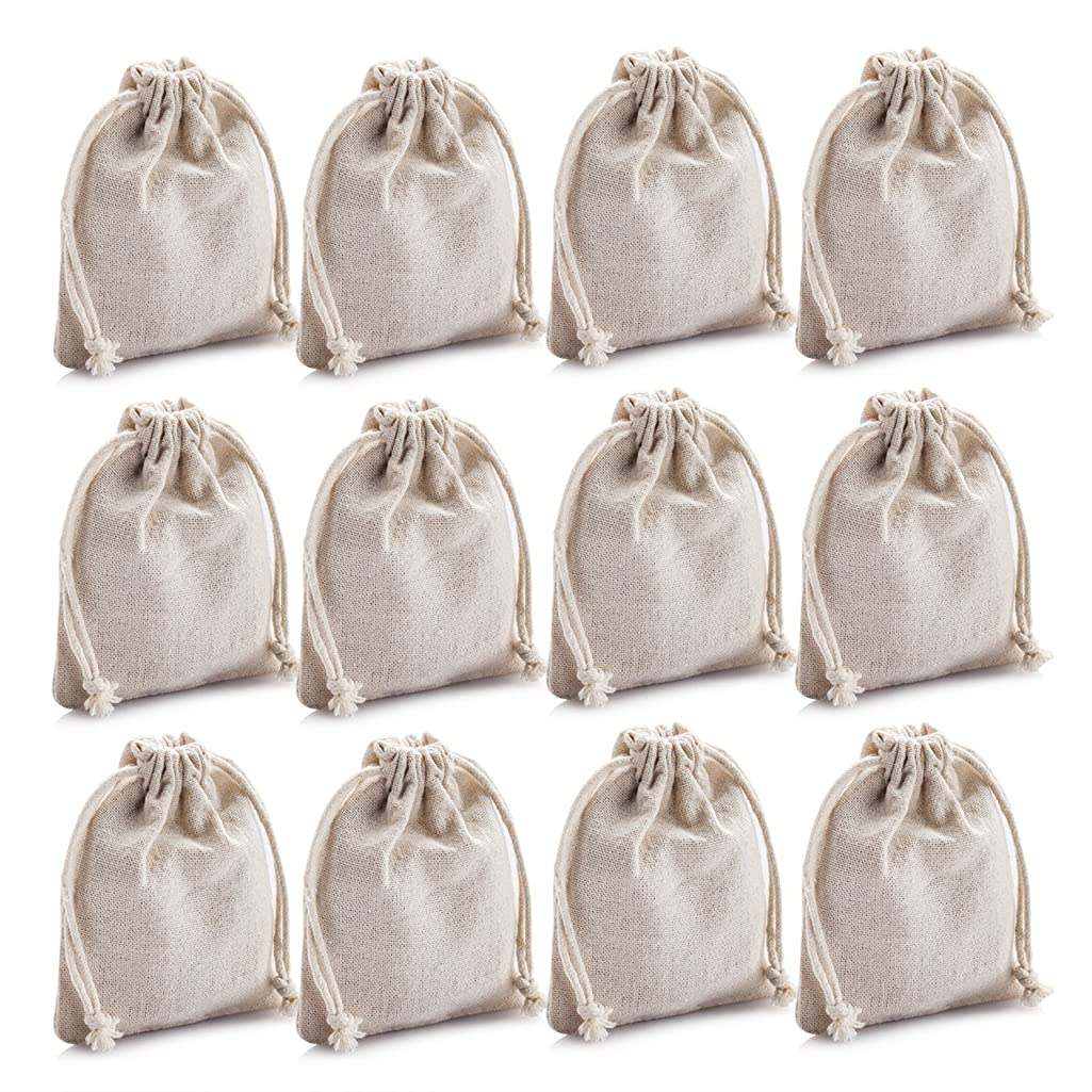 MIAOMIAO [set of 12] reusable cotton double drawstring Bags, Machine Washable gift bags, Natural Linen Pouches for Gift Packaging, Perfect for Wedding, and Other Giveaways