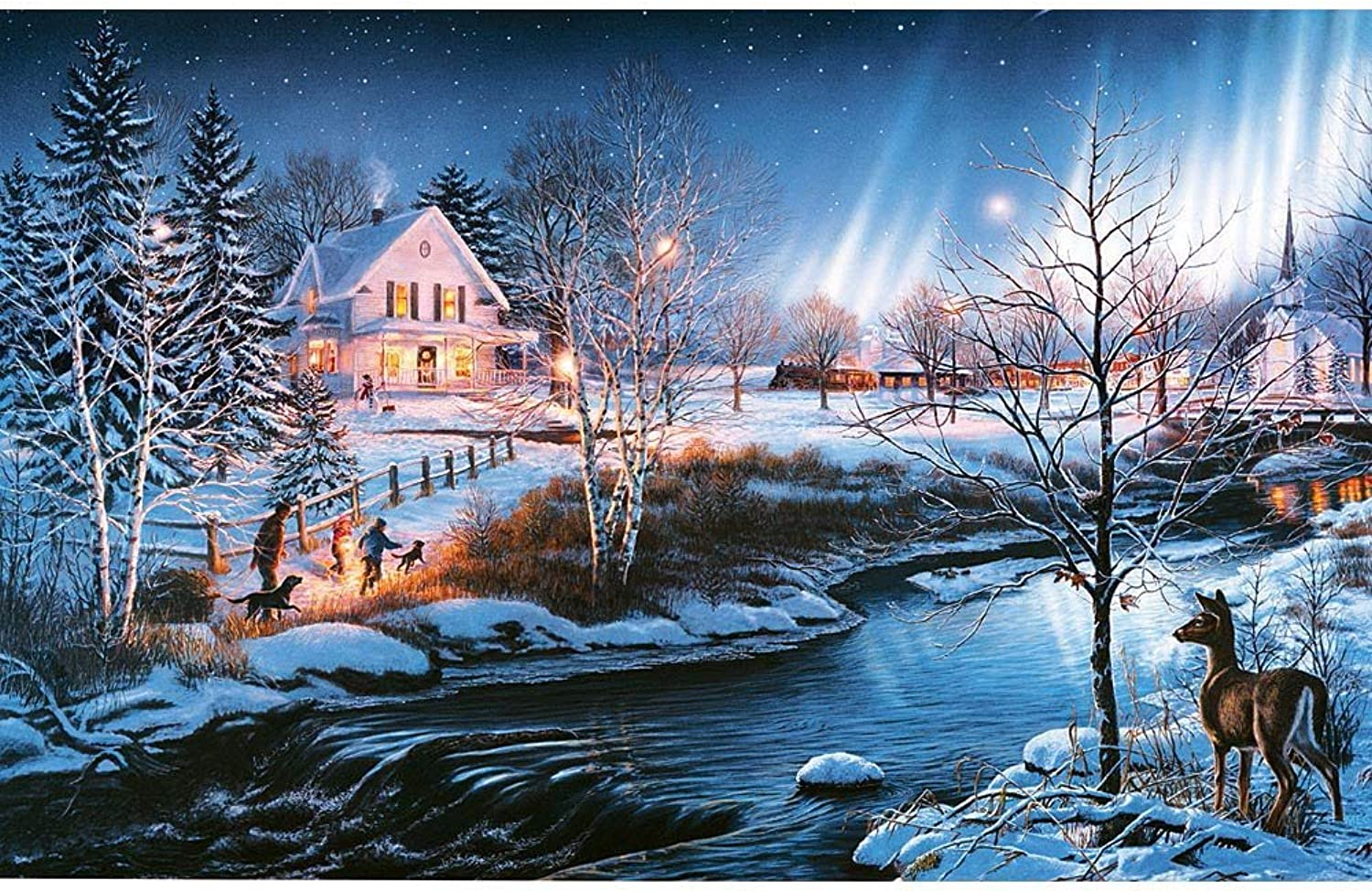 Bits and Pieces  300 Large Piece Glow in The Dark Puzzle for Adults  All is Bright by Artist James Meger  Winter Holiday Landscape  300 pc Jigsaw