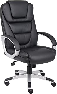 Boss Office Products High Back No Tools Required LeatherPlus Chair in Black