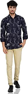 Gladiator PRODCUTS Abstract Design Cotton Shirt for Men (40, Navy)
