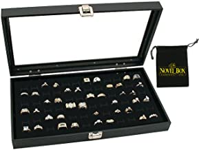 Novel Box® Glass Top Black Jewelry Display Case + 72 or 36 Slot Ring Display Insert + Custom NB Pouch …