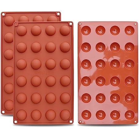 homEdge Mini moule en silicone semi-sphérique à 24 cavités, 3 moules pour la fabrication de chocolat, gâteaux, gelée, mousse à dôme
