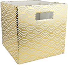 DII Hard Sided Collapsible Fabric Storage Container for Nursery, Offices, & Home Organization, (13x13x13) - Waves Gold