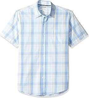 Men's Regular-Fit Short-Sleeve Plaid Casual Poplin Shirt, Aqua/Blue, Large