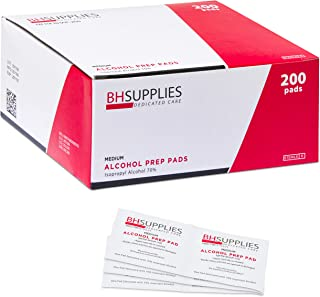 BH Supplies Alcohol Prep Pad Sterile, Medium 2-Ply, 200 Count - Saturated with 70% Alcohol