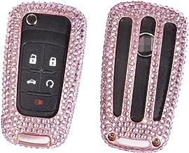 M.JVisun Handmade Car Key Fob Cover For Chevrolet Remote Key, Diamond Key Case Cover Fits Chevrolet Aveo Trax Epica Lova RV Malibu Sail3 Camaro, Bling Crystals Aluminum Fob Cover Protector - Rose Gold