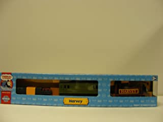 Trackmaster Railway System - Thomas and Friends Motorized Road and Rail Battery Powered Tank Engine : Harvey with 1 Green Coaches and 1 Freight Wagon