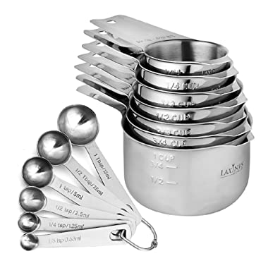 13 Piece Measuring Cups And Measuring Spoons Set, Sturdy & Stainless Steel 7 Measuring Cups and 6 Measuring Spoons, Stackable, By Laxinis World