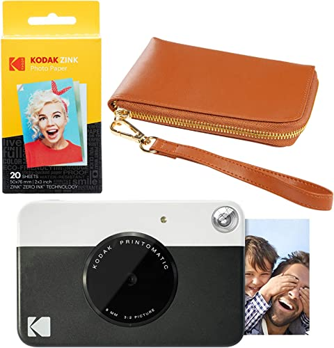lowest KODAK PRINTOMATIC Instant Print Camera (Black) Brown sale Wrislet popular Carrying Case Kit outlet sale