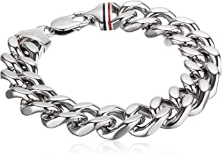 Tommy Hilfiger Men's Jewelry Stainless Steel Chunk Chain Bracelet, Color: Silver (Model: 2700261)