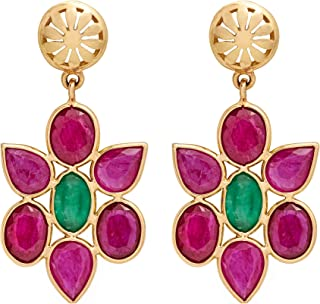 Gehna 18k Yellow Gold and Ruby Drop Earrings