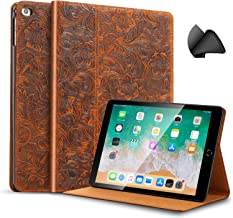 Gexmil iPad 9.7 Inch 2018/2017 Case, applies Cowhide Folio Cover for iPad 6th Gen / 5th Gen Genuine Leather case,Also applies to iPad Air 2 / iPad Air,Pattern-Brown