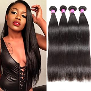 ISEE Hair 8A Malaysian Virgin Straight Hair 4 Bundles 100% Unprocessed Human Hair Weave Bundles Human Hair Extensions 4 Bundles Deal Natural Black 18 20 22 24inches