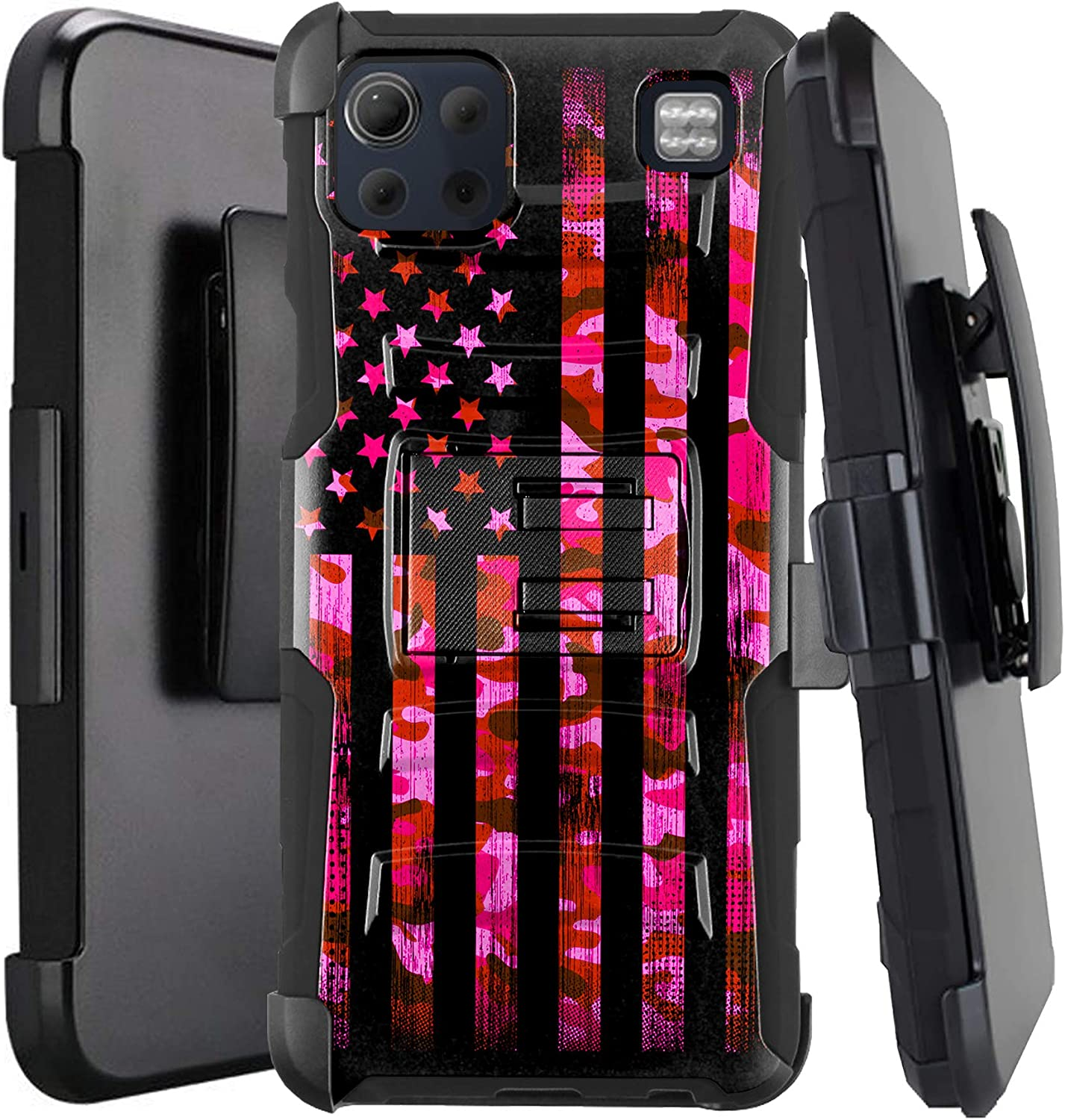 DALUX Hybrid Kickstand Holster Phone Case Compatible with LG K92 5G (2020) - Pink Camo US Flag