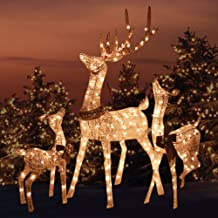 Morning Star Market Outdoor Platinum Shimmer Lighted Reindeer Family Set with Buck Deer, Doe and Baby Fawn, Santa's Reindeer Holiday Lawn Sculpture Lighted Yard Ornament Decoration