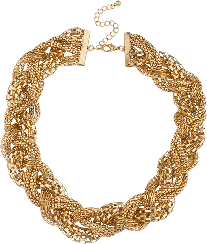 LUX ACCESSORIES Mesh Braided Multi Chain Statement Necklace