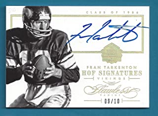 Fran Tarkenton - 2014 Panini Flawless Hall of Fame Autographs Gold #2 - AU 09/10 - Panini Certified - NFL Autographed Football Cards