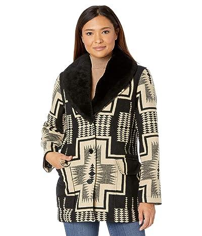 Pendleton Wahkeena Shearling Collar Coat (Black/Tan Harding Jacquard) Women