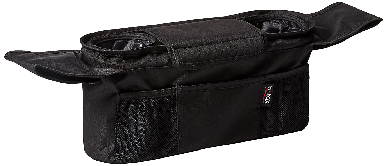 Britax Stroller Organizer with Insulated Cup Holders | Large Center Compartment with Magnetic Closure + 3 Outer Pockets + Folds with Stroller, No Removal Needed