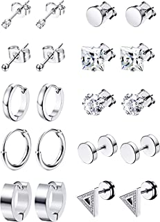 6-12Pairs Stainless Steel Earrings For Men CZ Stud Earring Tiny Ball Stud Earrings Cartilage Earrings Endless Hoop Earrings For Men