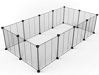 Tespo Pet Playpen, Small Animal Cage Indoor Portable Metal Wire Yard Fence for Small Animals, Guinea Pigs, Rabbits Kennel Crate Fence Tent, Black