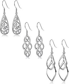 3 Pairs Celtic Knot Dangle Earrings for Women Girls Silver Twist Wave Filigree Teardrop Fashion Earring Jewelry