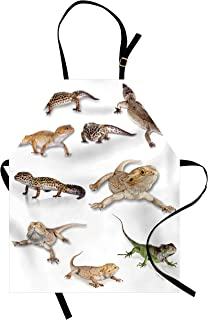 Ambesonne Reptile Apron, Colorful Staring Leopard Gecko Family Image Primitive Reptiles Wildlife Art Print, Unisex Kitchen Bib with Adjustable Neck for Cooking Gardening, Adult Size, White Beige