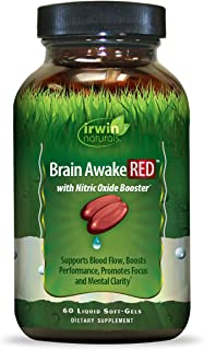 Irwin Naturals Brain Awake Red + Nitric Oxide Boosters Enhanced Performance, Focus & Mental Clarity - Nootropic with L-Cit...