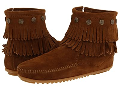 Minnetonka Double Fringe Side Zip Boot (Dusty Brown Suede) Women
