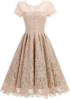Avril Dress Women's Retro 1950s Floral Lace Short Sleeve Bridesmaid Party Cocktail A-line Swing Dress