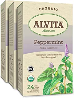 Alvita Organic Peppermint Herbal Tea - Made with Premium Quality Organic Peppermint Leaves, And A Delightful Zesty Flavor,...