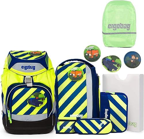 Ergobag Pack SET Schulrucksack Illumib  Regenhülle Grün