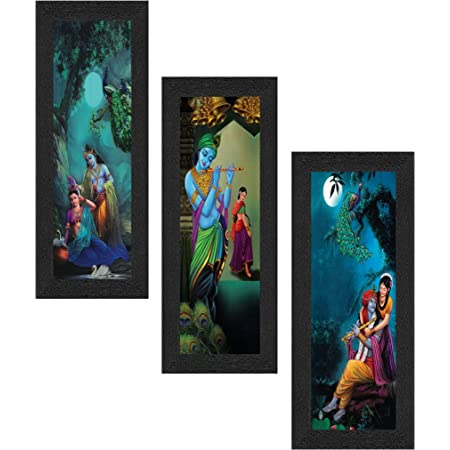 SAF Set of 3 Radha Krishna UV Coated Home Decorative Religious Gift Item Framed Painting 17 inch X 24 inch SAFLP01, Multicolour