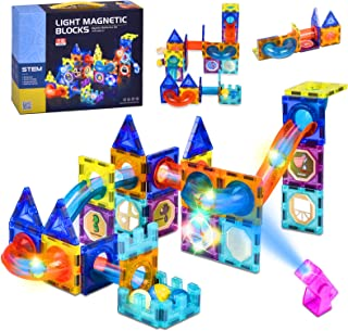 COTYNI 75 PCS Magnetic Tiles Building Blocks Set 3D Magnetic Toys with Lights for Kids, Colorful Magnetic Marble Run Balls...